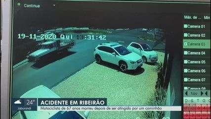 Motociclista de 67 anos morre após colisão com caminhão em Ribeirão Preto