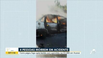 Acidente deixa quatro pessoas mortas em Acaraú