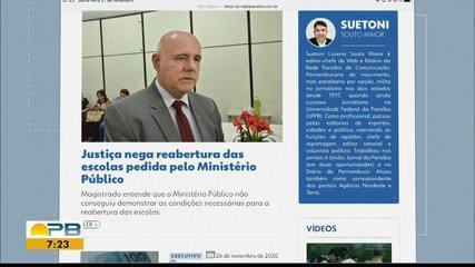 Justiça nega pedido do Ministério Público de reabertura das escolas de João Pessoa