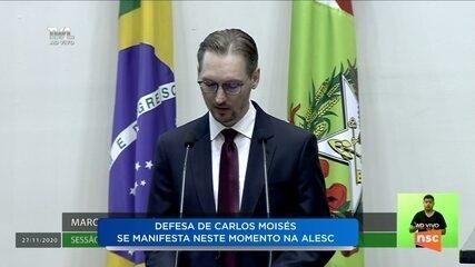 Julgamento do impeachment: Defesa de Carlos Moisés se manifesta na Alesc