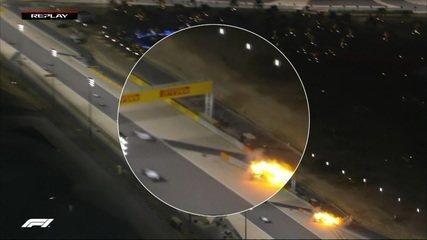 Lente de aumento mostra situação do tanque do carro de Grosjean no acidente