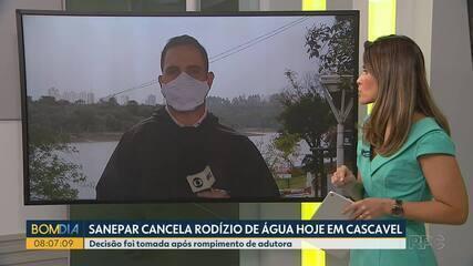 Sanepar cancela rodízio de água em Cascavel
