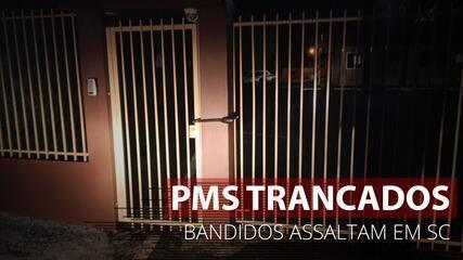 VÍDEO: Criminosos trancam alojamento da PM antes de arrombar banco em SC