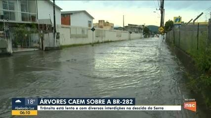 Chuva causa pontos de alagamentos na região da Grande Florianópolis