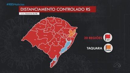 20 regiões do RS são classificadas com alto risco de transmissão da Covid-19