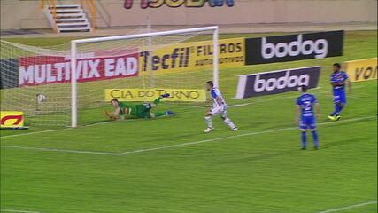 Gol do CSA! Contra o Confiança, Paulo Sérgio aproveita cruzamento de Andrigo e empurra para o gol, com 1' do 2T