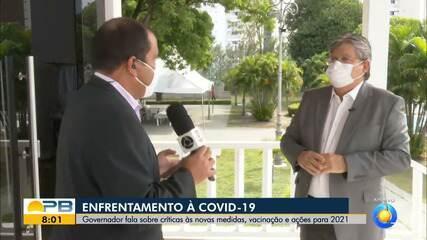 Governador João Azevêdo fala sobre enfrentamento à Covid-19 no fim do ano
