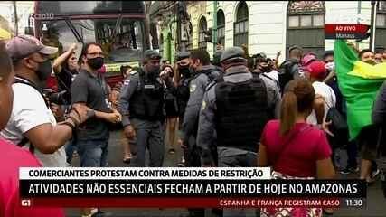 Comerciantes protestam contra medidas de restrição em Manaus