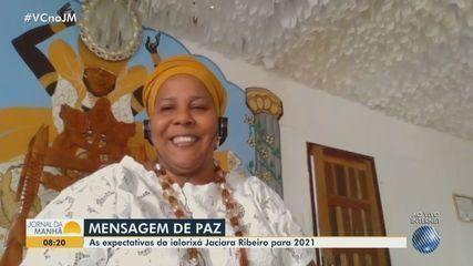Ialorixá Jaciara Ribeiro transmite mensagem de paz para o povo baiano, no fim de 2020