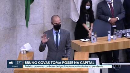 Prefeito Bruno Covas, vice-prefeito e mais 55 vereadores tomam posse em cerimônia semipresencial