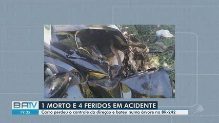 Criança morre e quatro pessoas da mesma família ficam feridas em acidente na Bahia