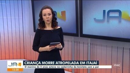 Menino de 5 anos morre atropelado em Itajaí