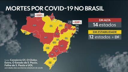 Casos e mortes por coronavírus no Brasil, segundo consórcio de veículos de imprensa