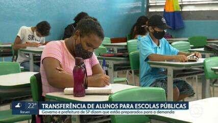 Governo e prefeitura de SP dizem que estão preparados para receber alunos de escolas particulares