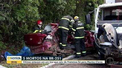 Cinco pessoas morrem em acidente na BR-251