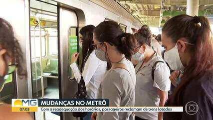 Passageiros reclamam de lotação no metrô de BH