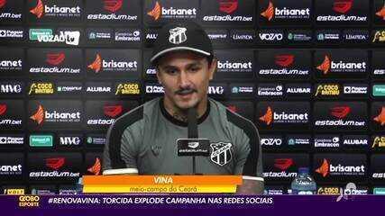 #RenovaVina: torcida do Ceará faz campanha por permanência do meia no Vovô