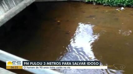 Policial militar resgatou idoso que caiu em rio de Ecoporanga