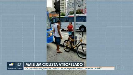 Ciclista é atropelado por BRT na Taquara