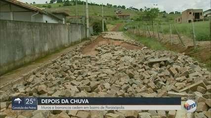 Chuva faz com que muros e barrancos cedam em bairro de Paraisópolis