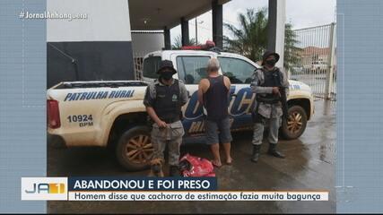 Homem é preso ao ser flagrado abandonando cachorro em Rio Verde