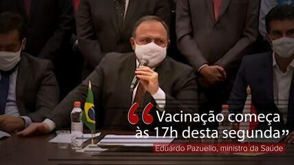 VÍDEO: Vacinação começa às 17h desta segunda (18), diz Pazuello