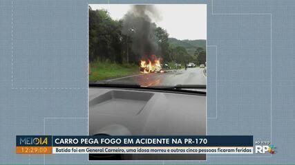Idosa morre e outras cinco pessoas ficam feridas em acidente na PR-170 em General Carneiro
