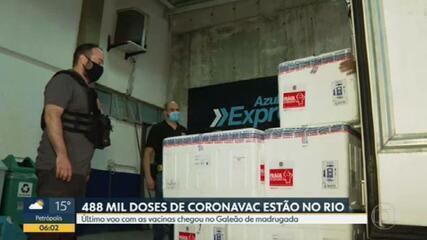 Todas as doses do primeiro lote de vacinas da Covid-19 chegam ao Rio