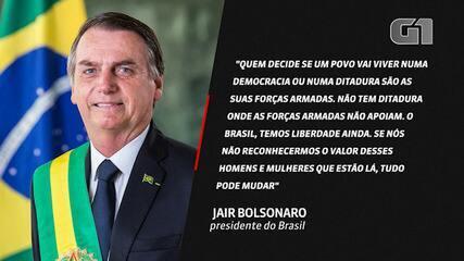 VÍDEO: Forças Armadas é que decidem sobre 'democracia ou ditadura', diz Bolsonaro