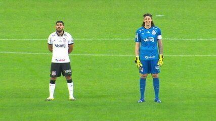 Jogadores de Corinthians e Sport ficam sem reação, durante execução inesperada do Hino Nacional