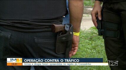 Armas e drogas foram apreendidas na região do Coroadinho em São Luís