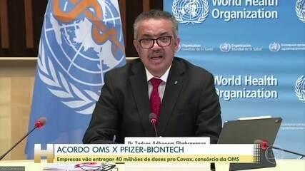 OMS anuncia acordo com Pfizer/Biontech para entrega de 40 mi de vacinas