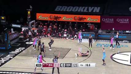 Melhores Momentos: Brooklyn Nets 128 x 124 Miami Heat pela NBA