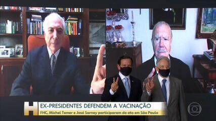 Ex-presidentes participam de ato simbólico de apoio à vacinação contra a Covid-19