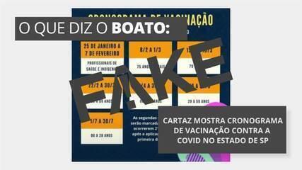 É #FAKE cartaz com cronograma de vacinação contra a Covid-19 no estado de SP