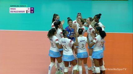 Os pontos finais de Minas 3 x 0 São Paulo-Barueri, pela Superliga Feminina de Vôlei