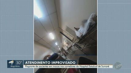 Pacientes são atendidos em macas no corredor do Hospital Estadual de Sumaré
