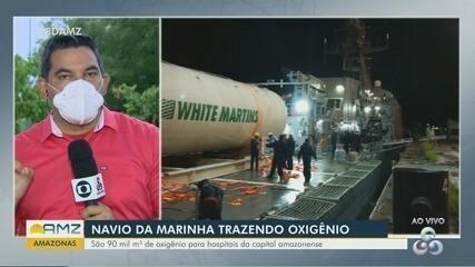 Navio da Marinha transporta de Belém para Manaus, 90 mil metros cúbicos de oxigênio