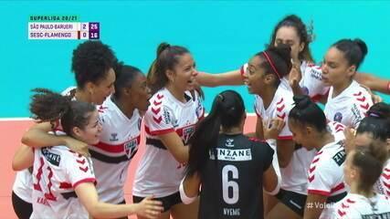 Os pontos finais de São Paulo-Barueri 3 x 0 Sesc-Flamengo, pela Superliga Feminina de Vôlei