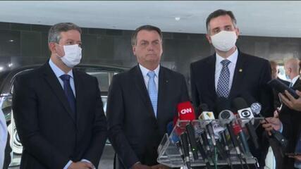 Bolsonaro recebe presidentes da Câmara e do Senado