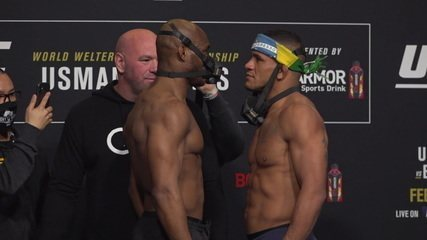 Confira a encarada entre Kamaru Usman e Gilbert Durinho na pesagem do UFC 258