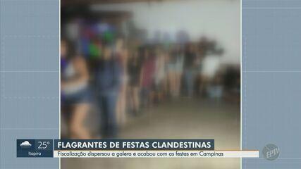 Fiscalização encerra festas clandestinas e dispersa aglomerações nas regiões de Piracicaba e Campinas.