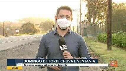 Temporal e ventania causa estragos em Joinville