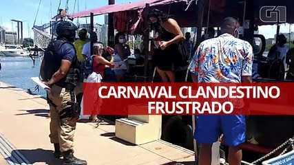 Vídeo mostra grupo da Guarda Municipal impedindo barco de zarpar durante o Carnaval