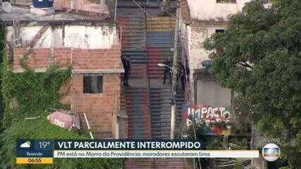 Circulação do VLT é parcialmente interrompida por conta de tiroteio no Morro da Providência