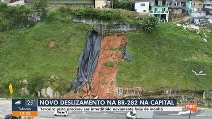 Novo deslizamento é registrado na BR-282 em Florianópolis