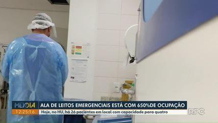 Ala de leitos emergenciais do HU de Ponta Grossa está com 650% de ocupação
