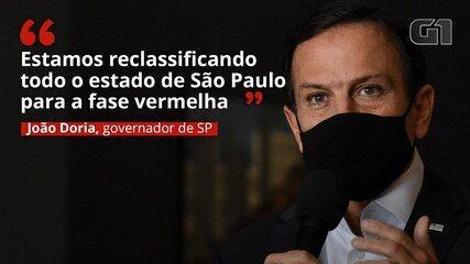 VÍDEO: Governador de São Paulo decreta fase vermelha em todo estado