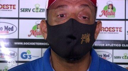Técnico do River-PI defende elenco após empate e desabafa: 'Respeite o nosso suor'