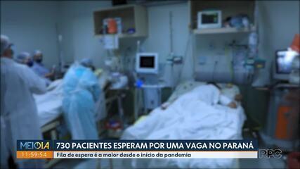 730 pacientes com Covid-19 esperam por uma vaga em hospitais do Paraná